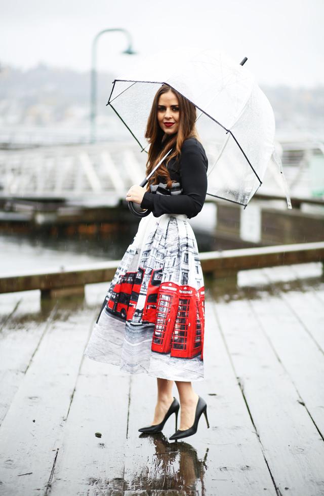tea length london skirt in the rain