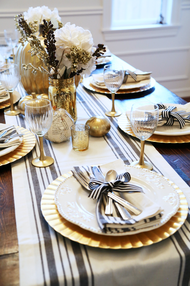 thanksgiving table black and gold & all set: black and gold thanksgiving table. - dress cori lynn