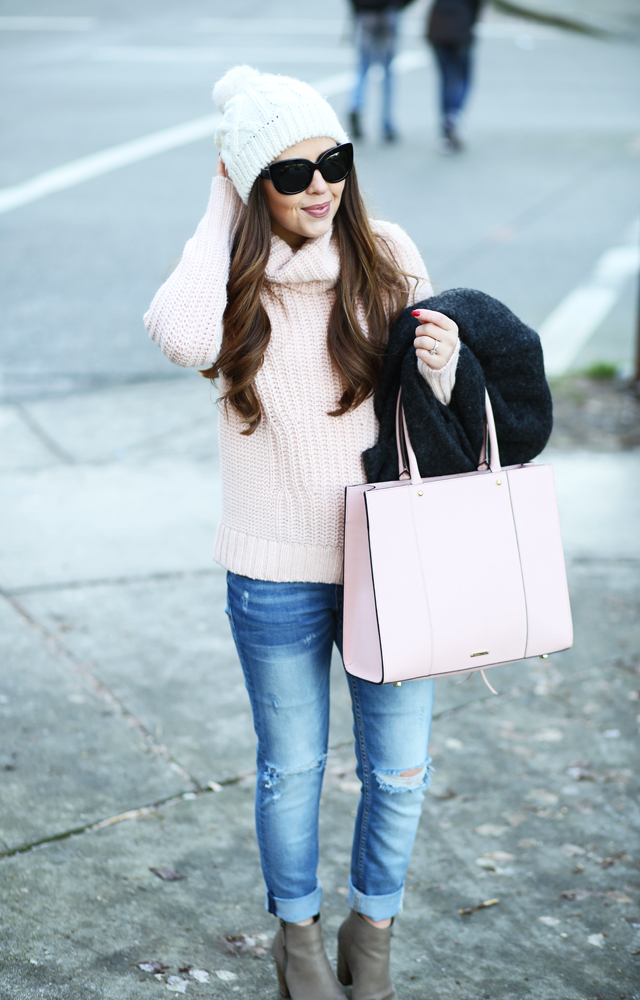 blush pink in the winter