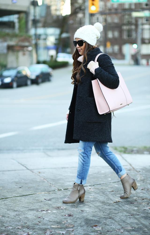 charcoal coat pink bag