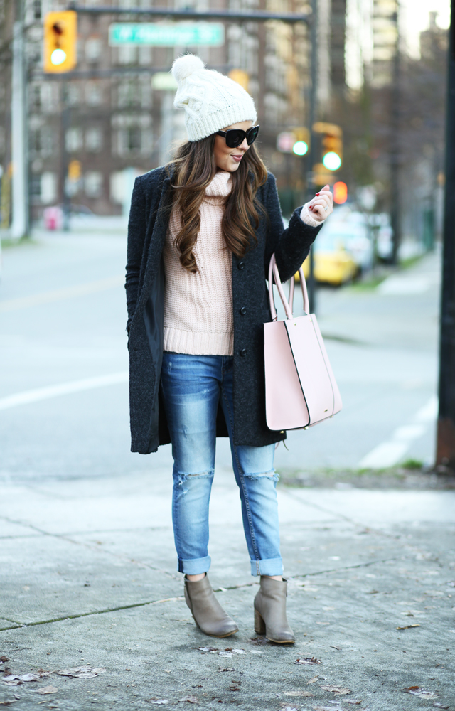 chunky pink turtleneck winter outfit