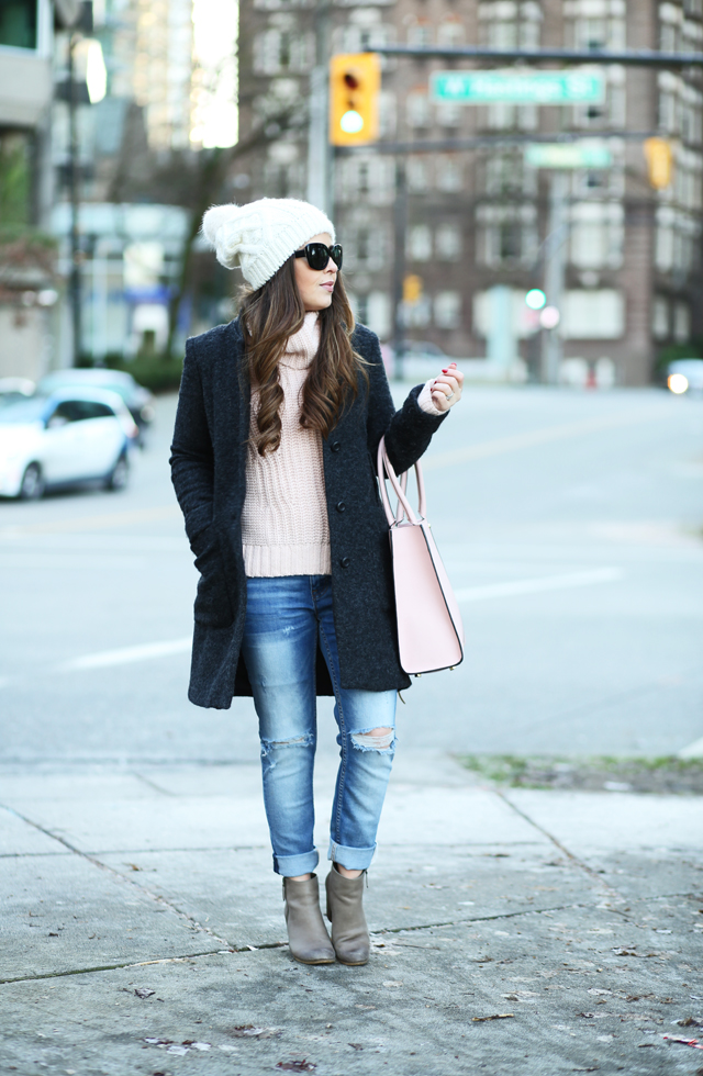 gray and pink winter outfit banana republic turtleneck