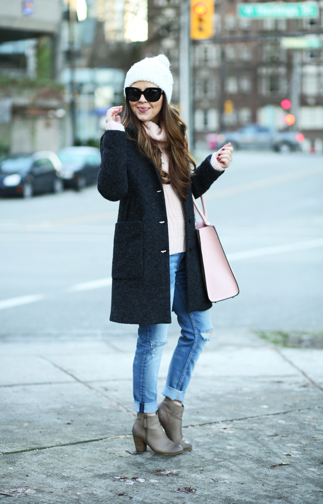 pink and gray outfit for winter