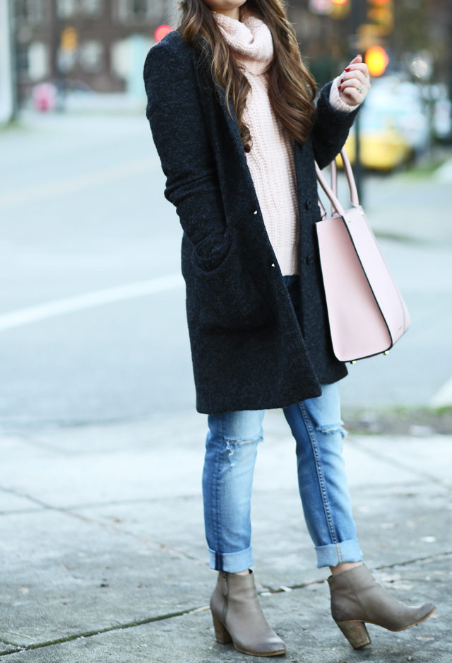 pink and gray winter outfit