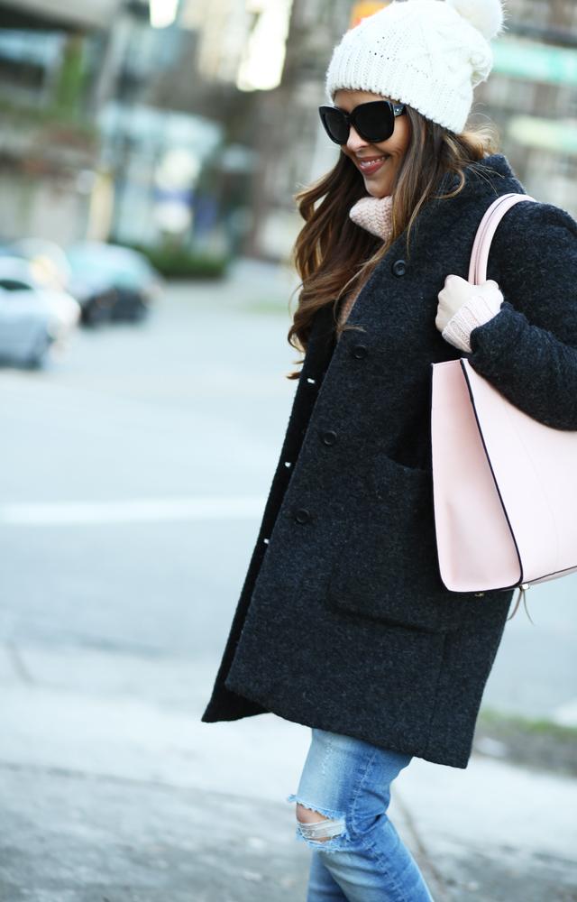 pink bag charcoal coat