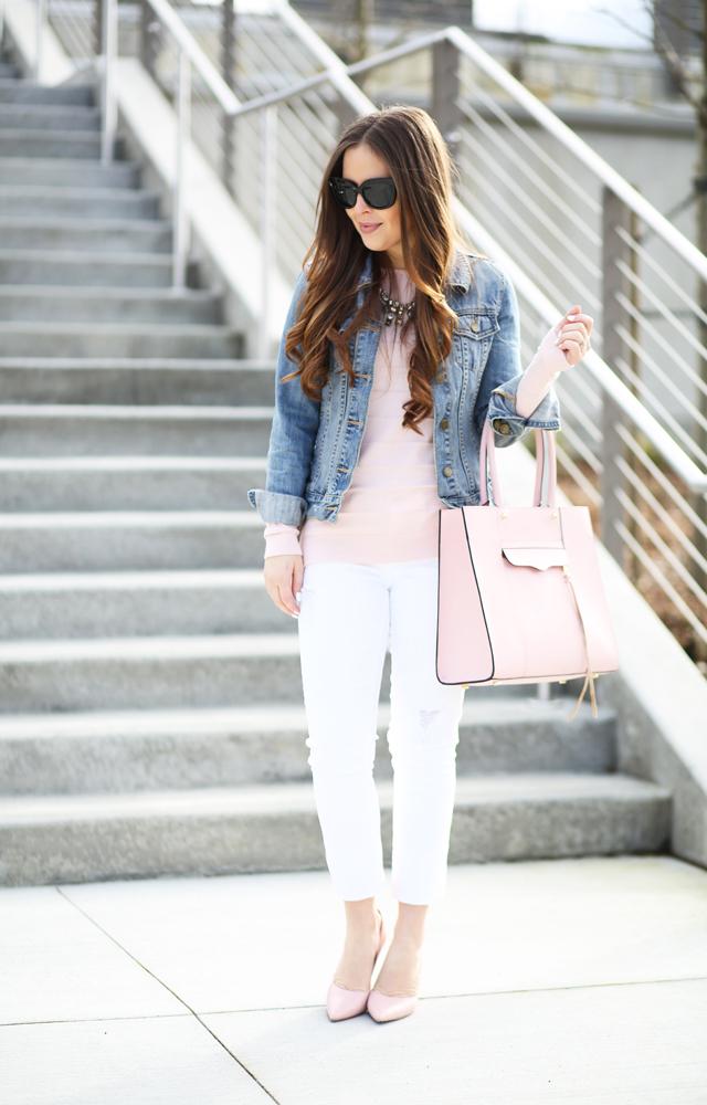 b94c3a44072 denim jacket pink sweater white pants - dress cori lynn