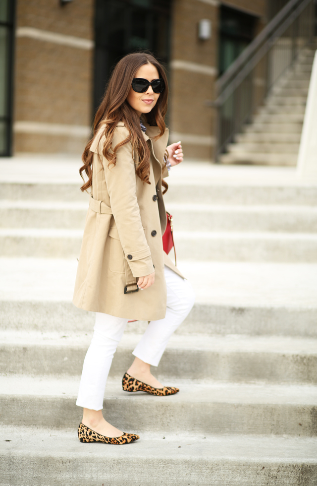 1c143ce2adcf leopard flats tan trench. leopard flats white jeans trench coat