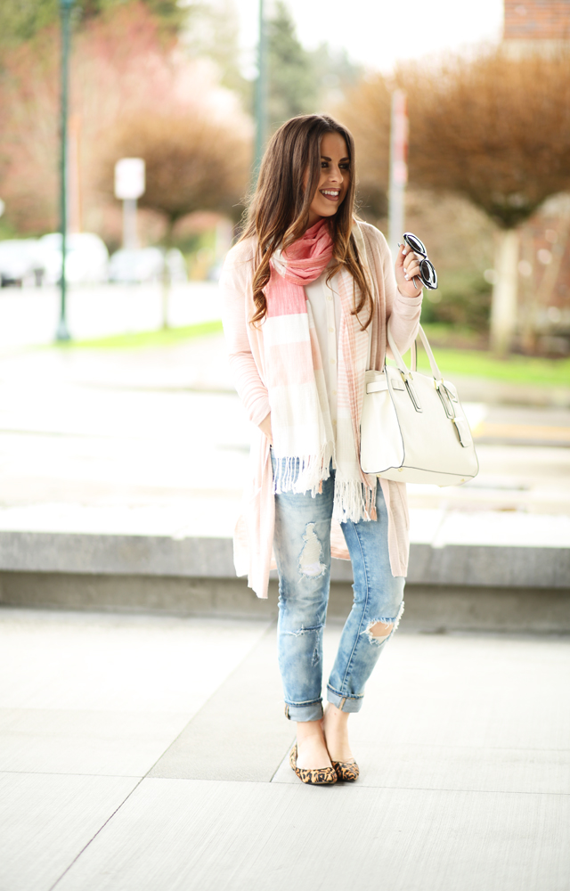 4591ee28a7 blankNYC jeans pink sweater striped scarf