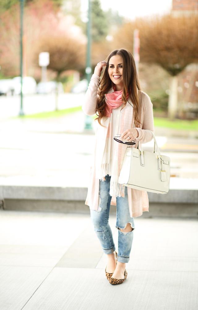 b46754e8471 distressed jeans peach scarf pink sweater - dress cori lynn