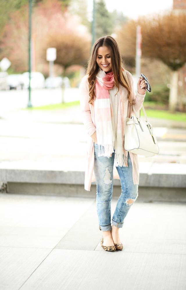 844a42e499c distressed skinny jeans white blouse pink sweater - dress cori lynn