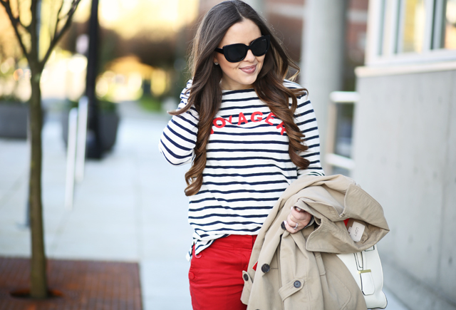 navy striped shirt with nautical theme