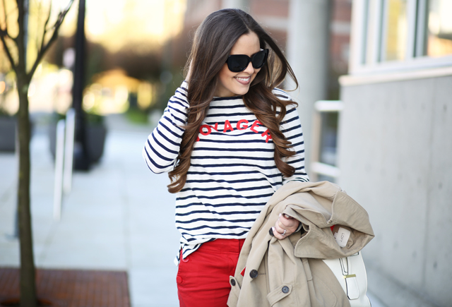 navy striped top with red word