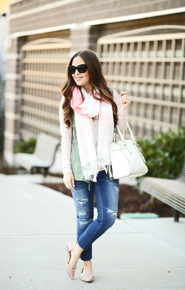 45579efb67666 pink striped scarf and sweater ripped jeans and army green vest ...