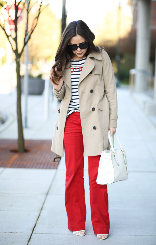 striped shirt wide leg red pants