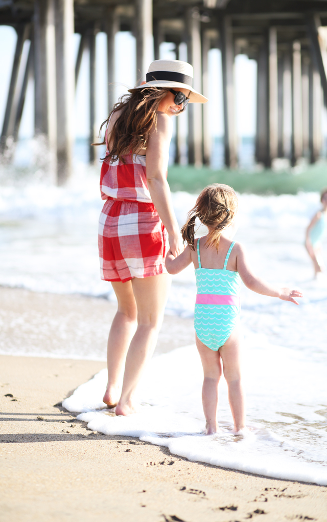 486e2294480 ... mom and baby on the beach. swimsuit coverup red plaid romper kids at  the beach red plaid Old Navy romper with sun hat ...