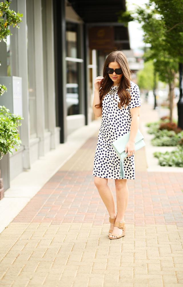 Polka Dot Shirt Dress Wedges