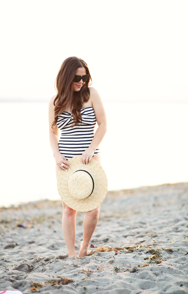 big bow striped swimsuit