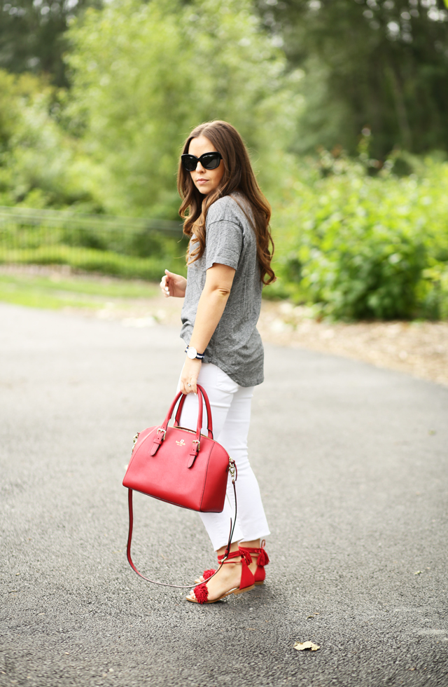 casual gray with pops of red