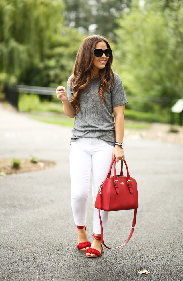 gray and white with pops of red