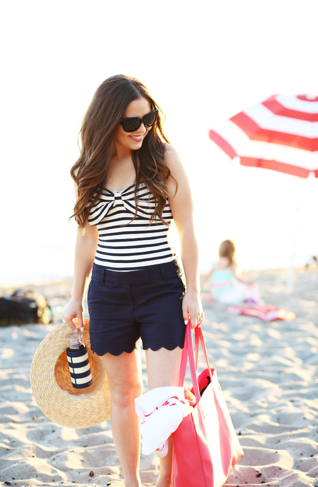 navy bow striped swimsuit with scalloped shorts