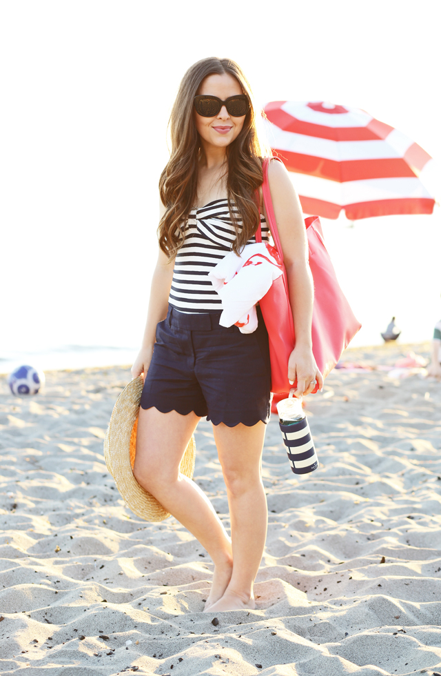 striped bow swimsuit with scalloped shorts