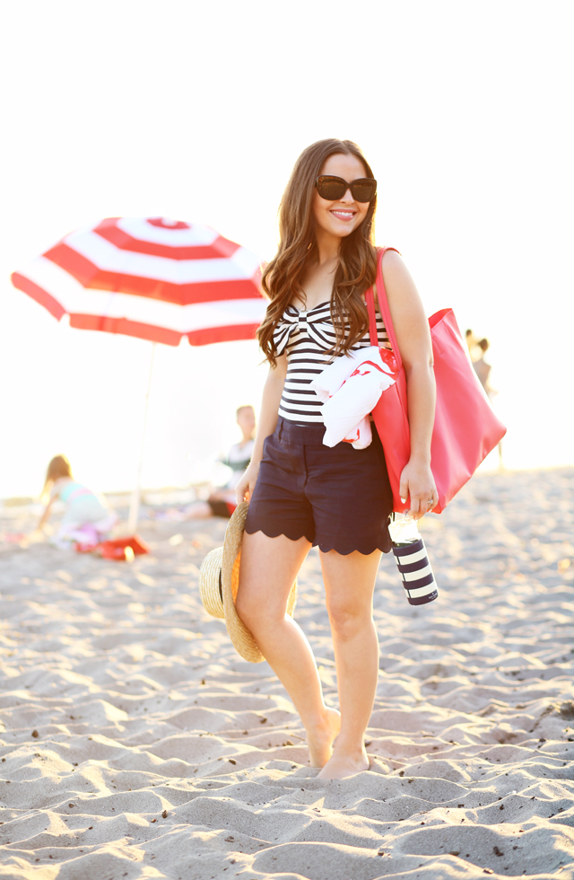 striped swimsuit with a bow