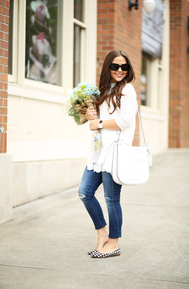 lace tunic with jeans and hydrangeas