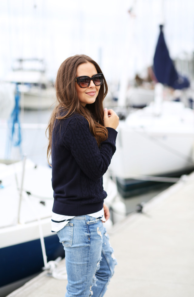 cable knit sailing sweater