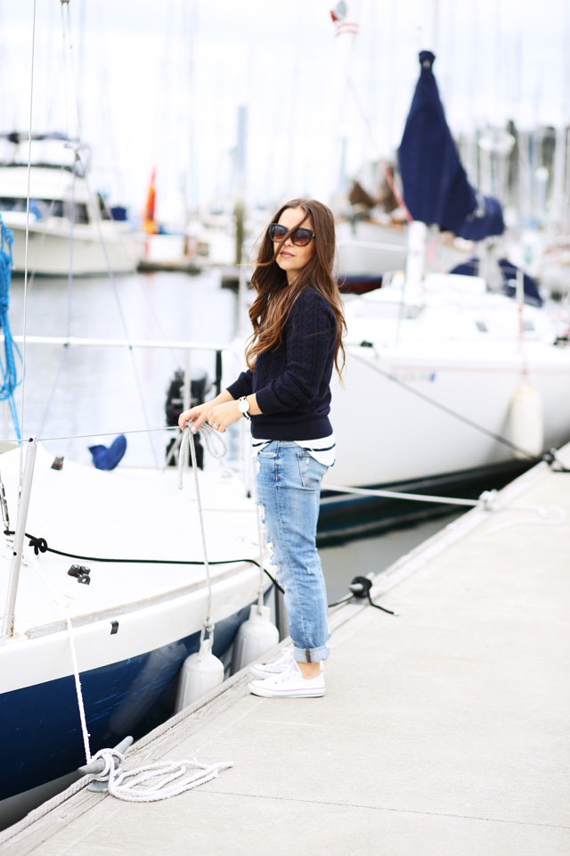 jeans and sweater for sailing