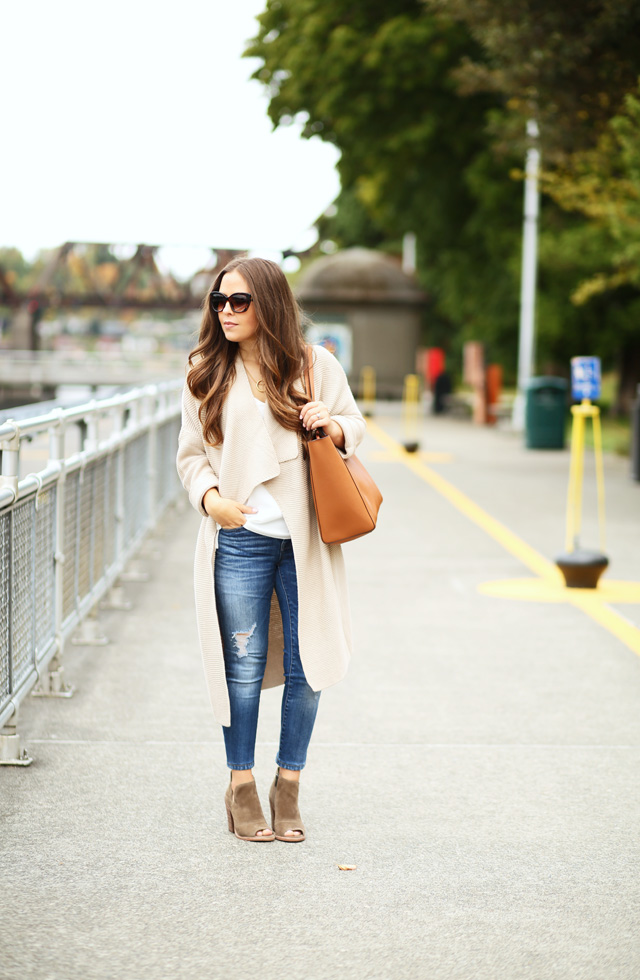 long beige sweater white blouse olive booties