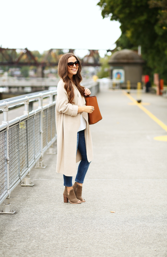 long beige sweater with jeans