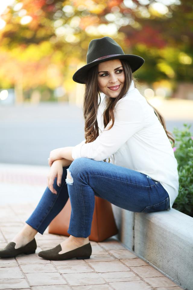 jeans-white-shirt-olive-green-hat-loafers - dress cori lynn