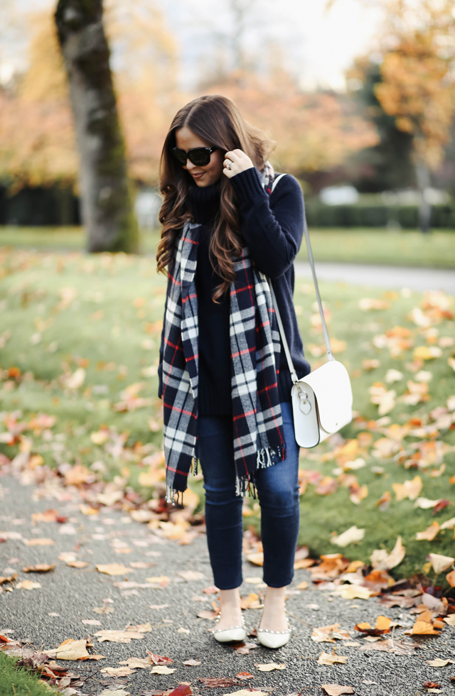 navy-tunic-sweater-plaid-scarf-white-flats