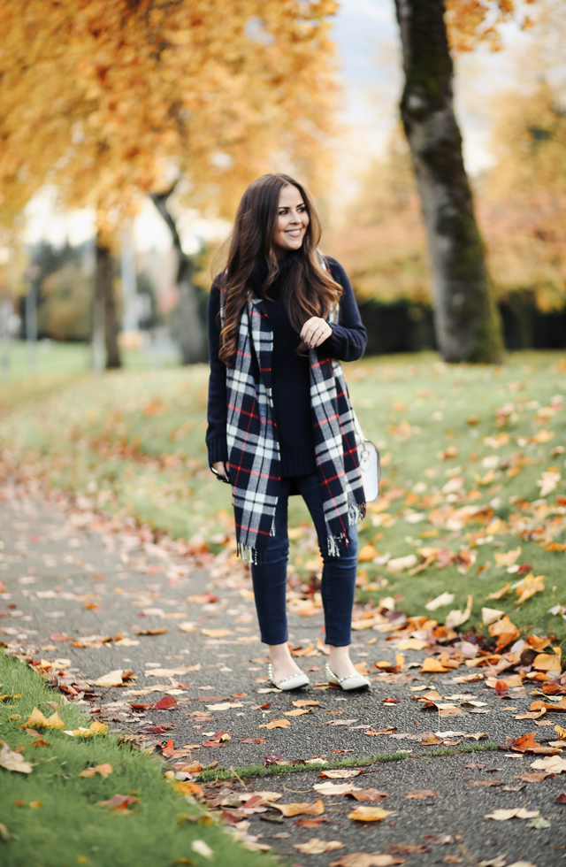 plaid-scarf-navy-sweater-tunic