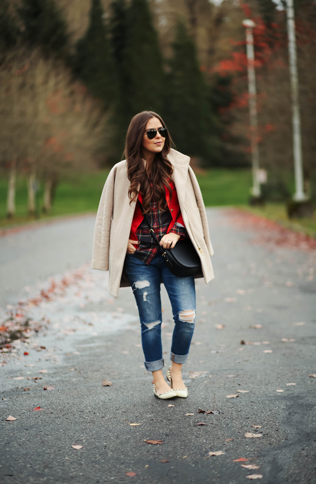 layered-red-blazer-with-plaid