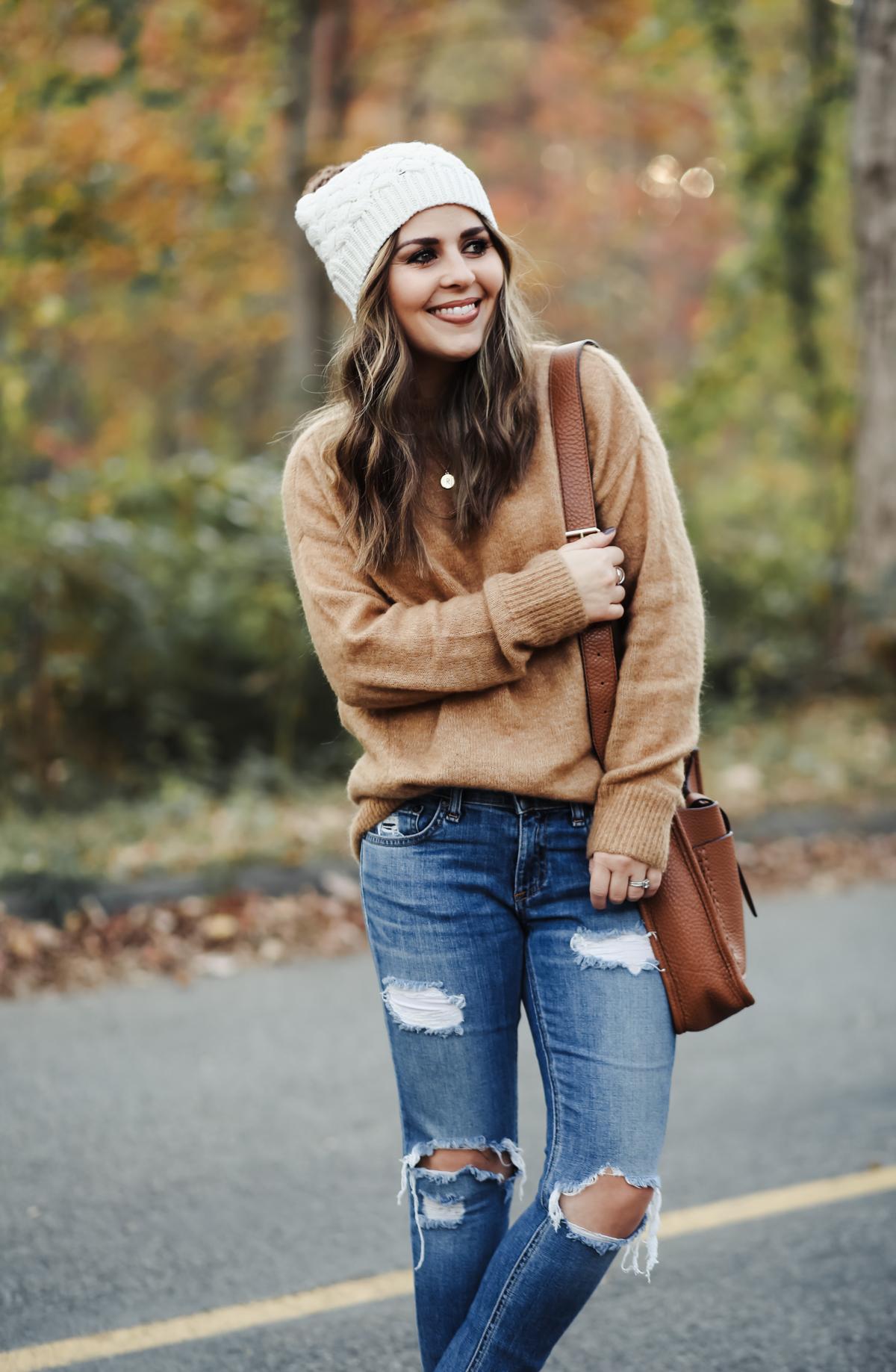 oversized camel color sweater with white pom beanie-2 - dress cori lynn 09e82b6c359
