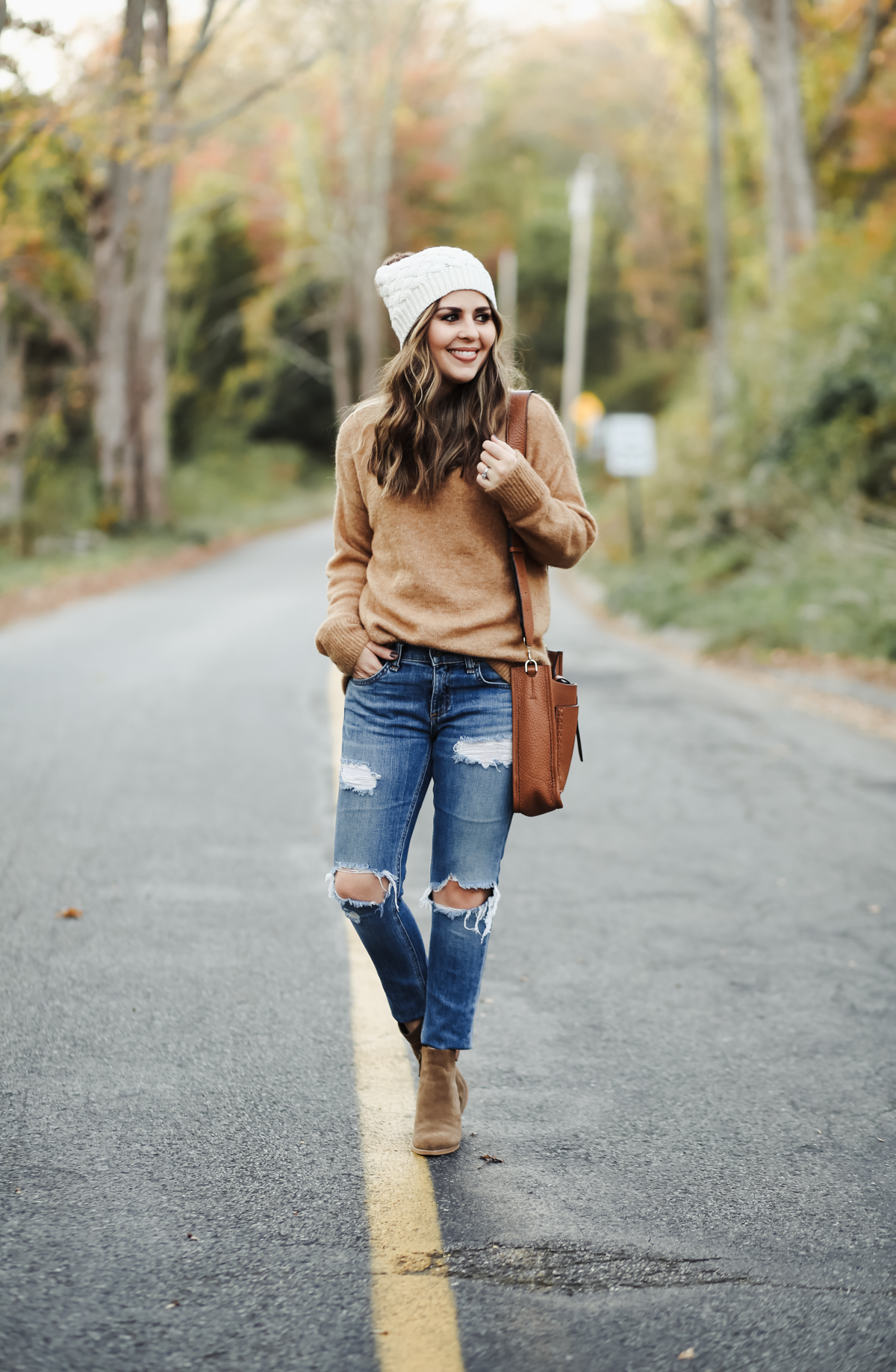 oversized camel colored sweater with jeans and booties,3