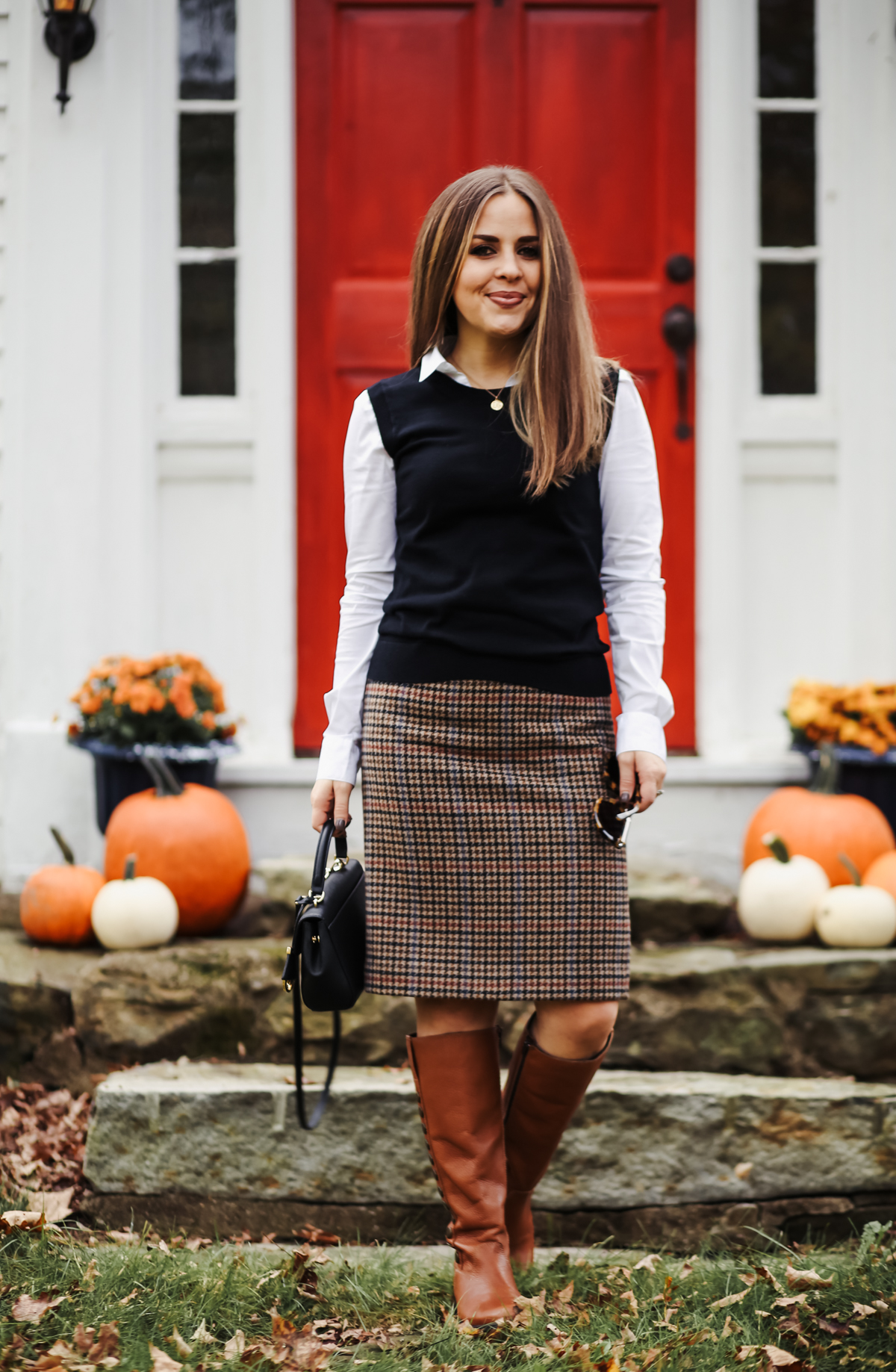 d8080bc50 preppy fall outfit tweed skirt and sweater vest-7 - dress cori lynn