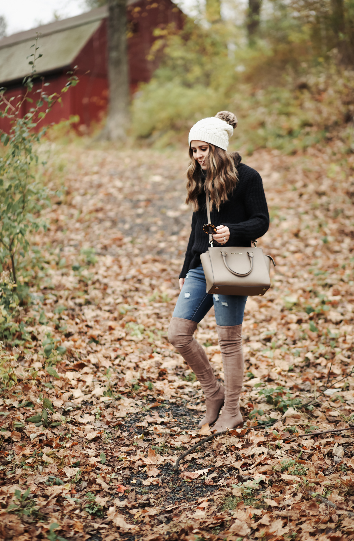 18b797953d Similar Sweater. Jeans. (TTS) Similar Bag here and here. Hat. (comes in 3  colors!) Sunglasses. When the over the knee boot trend emerged in 2015