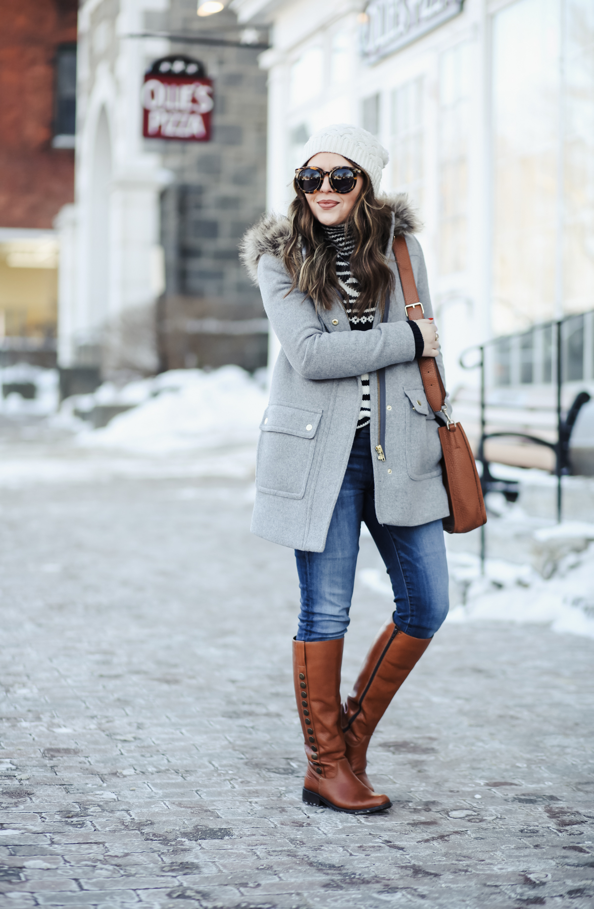 Winter Outfit With Riding Boots And Wool Coat 1 Dress