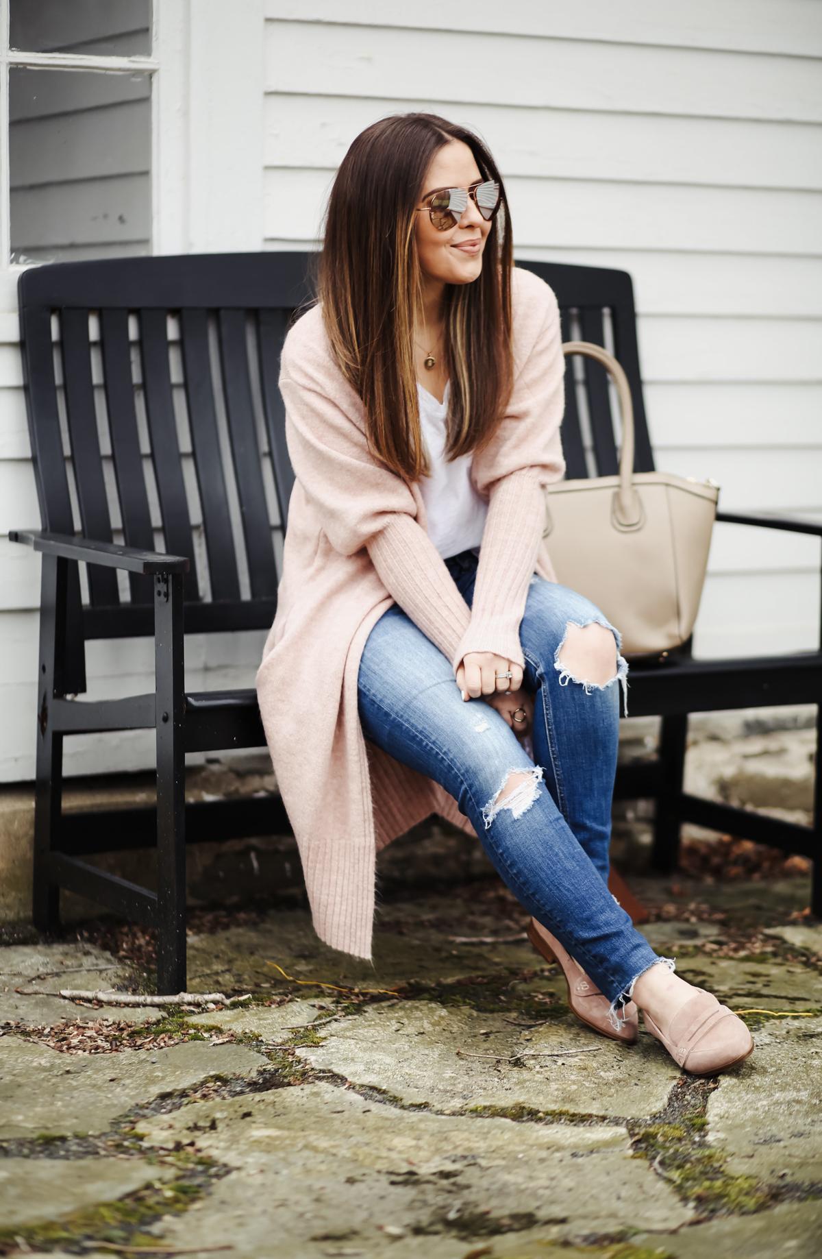 pink long cardigan easy momiform outfit ideas-17 - dress cori lynn
