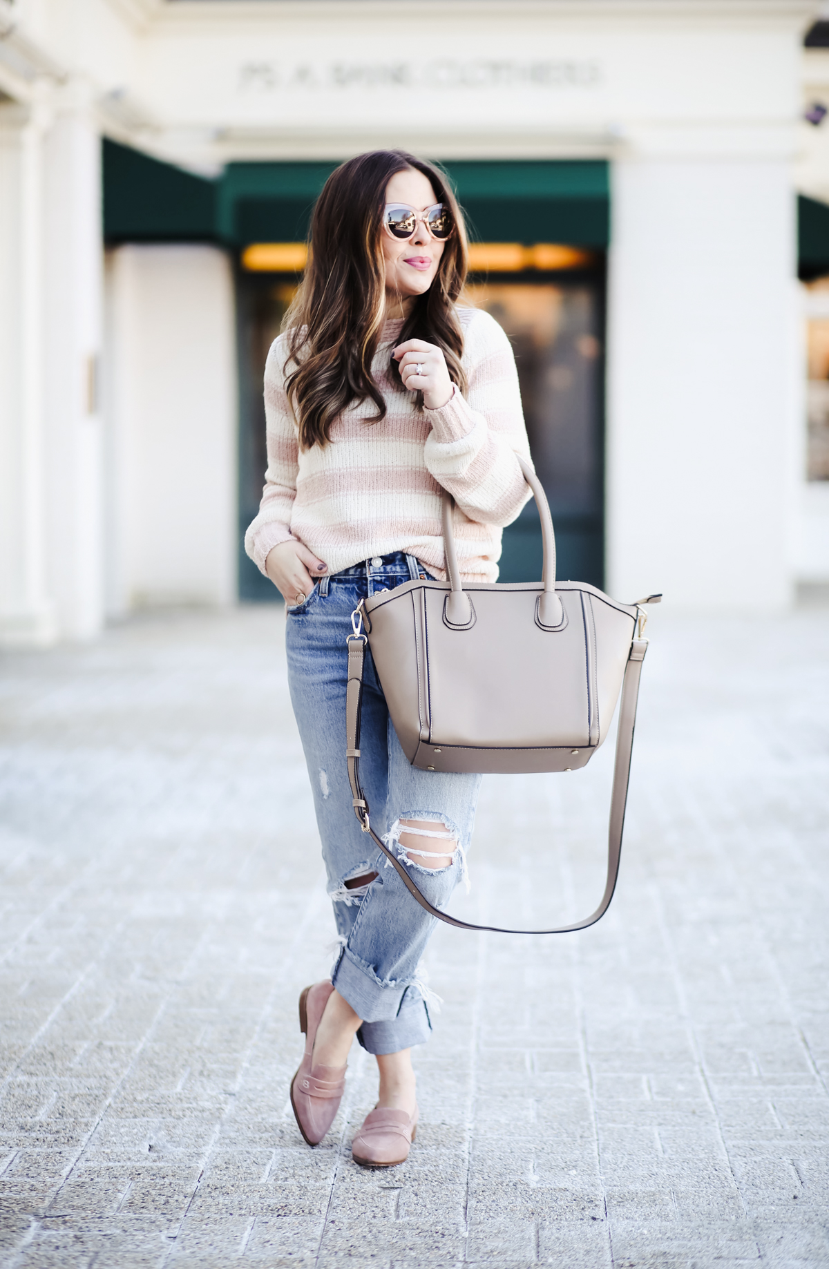 ccd9102608bd9 pink striped sweater high waisted jeans and pink loafers-2 - dress ...