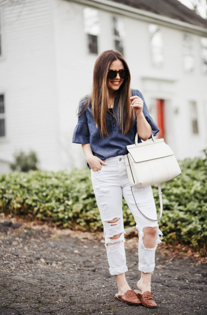 9199d32ee7 white girlfriend jeans.(petite friendly) chambray ruffle top. white bag.  sunglasses. shoes. necklace. ring.