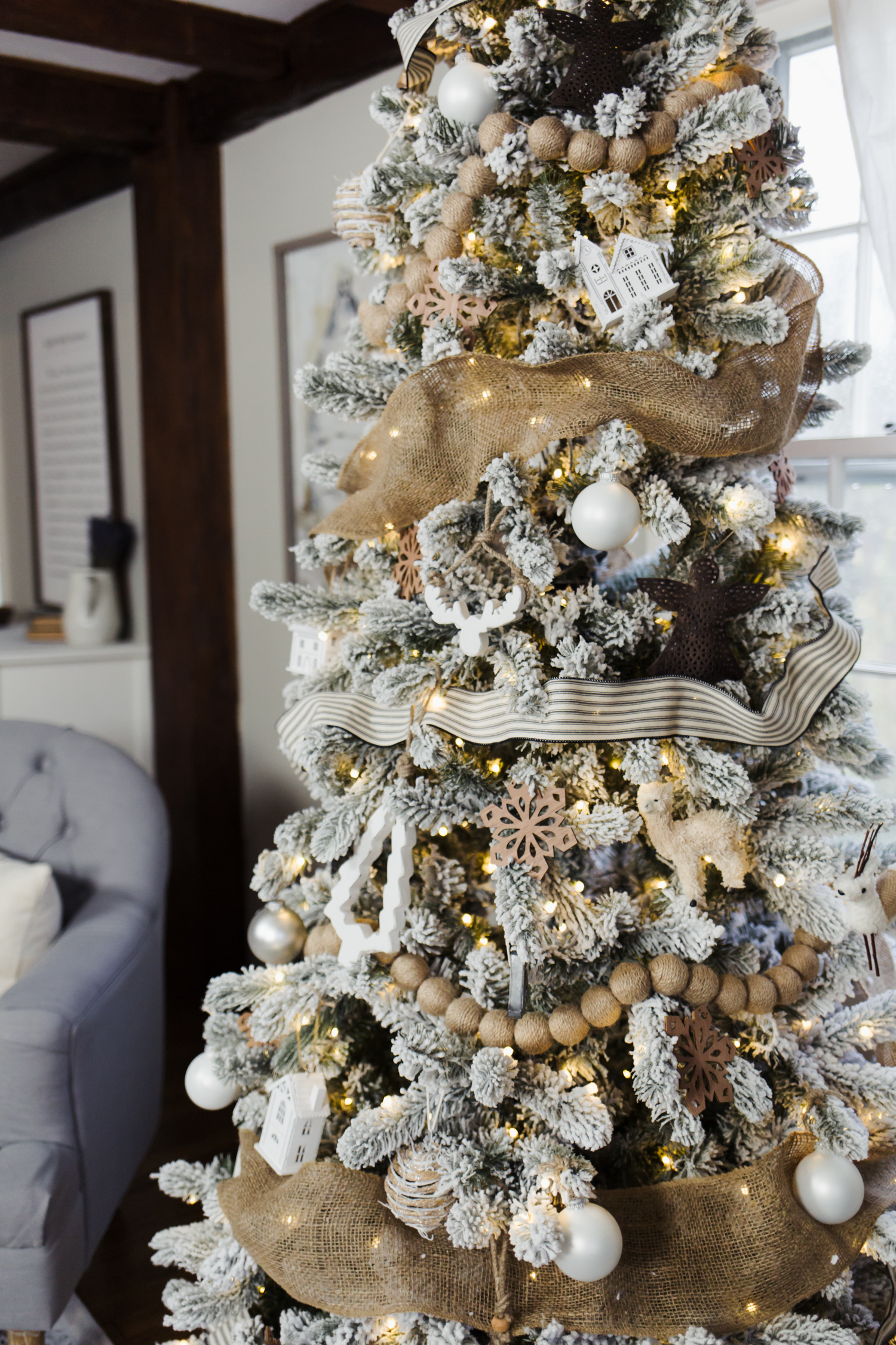 Flocked French Farmhouse Inspired Christmas Tree 4 Dress Cori Lynn
