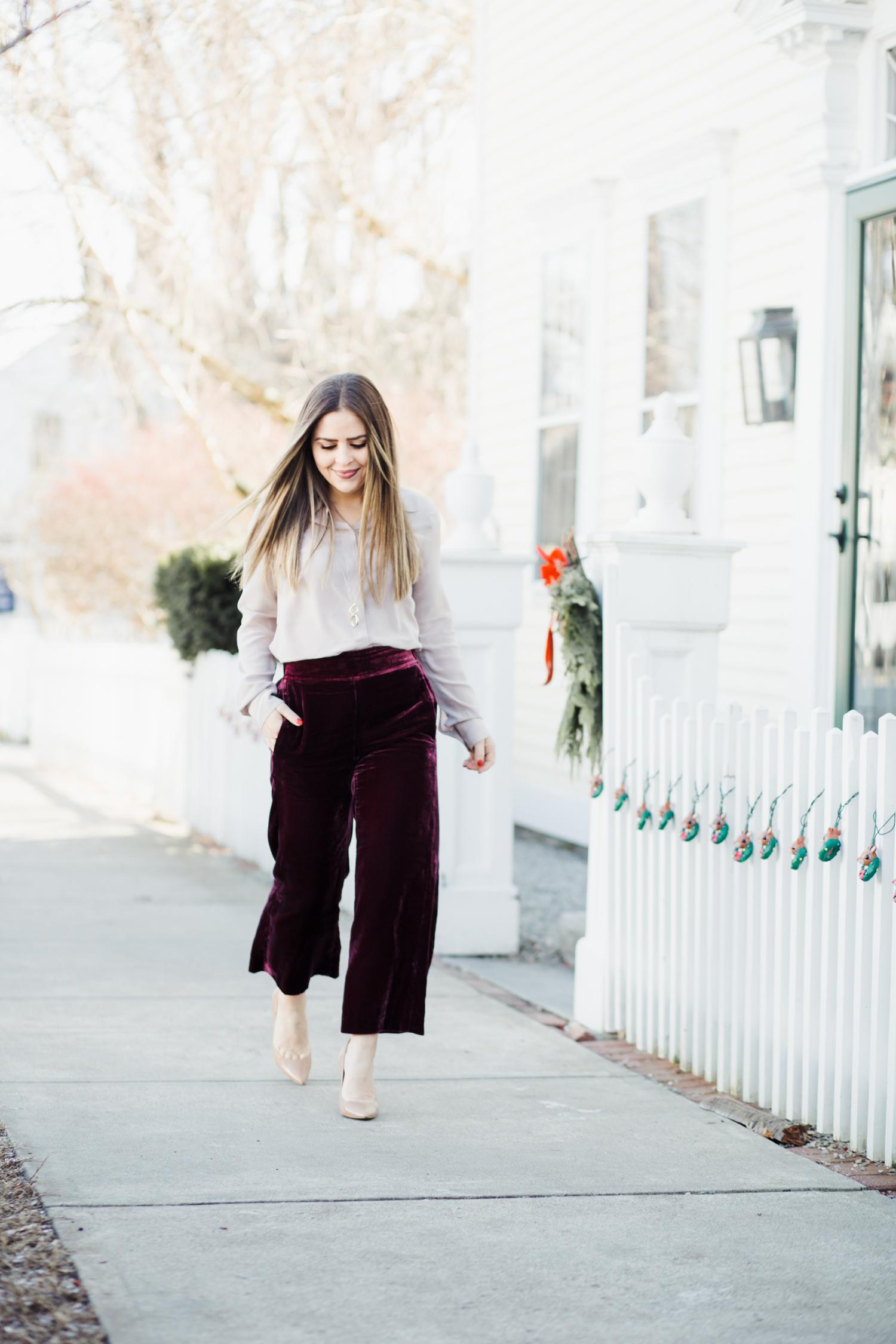 8e87bd20a2de 2 easy ways to style velvet pants. - dress cori lynn