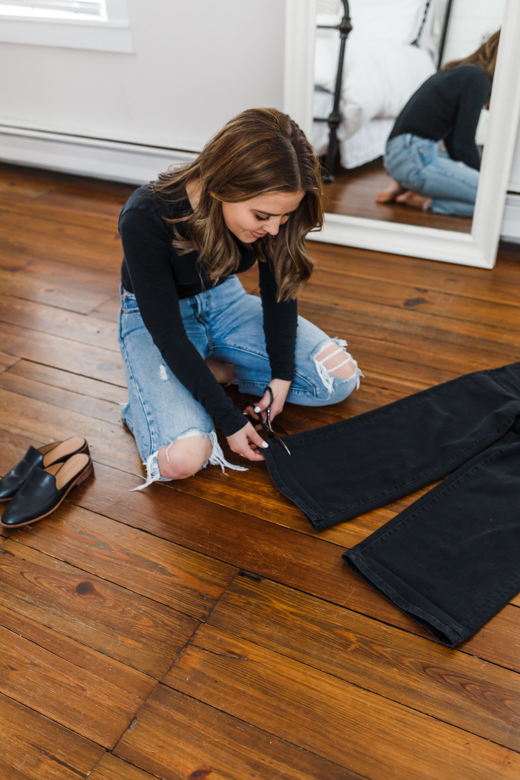 03c6be7ce0 DIY  how I cut the hem on my jeans. - dress cori lynn