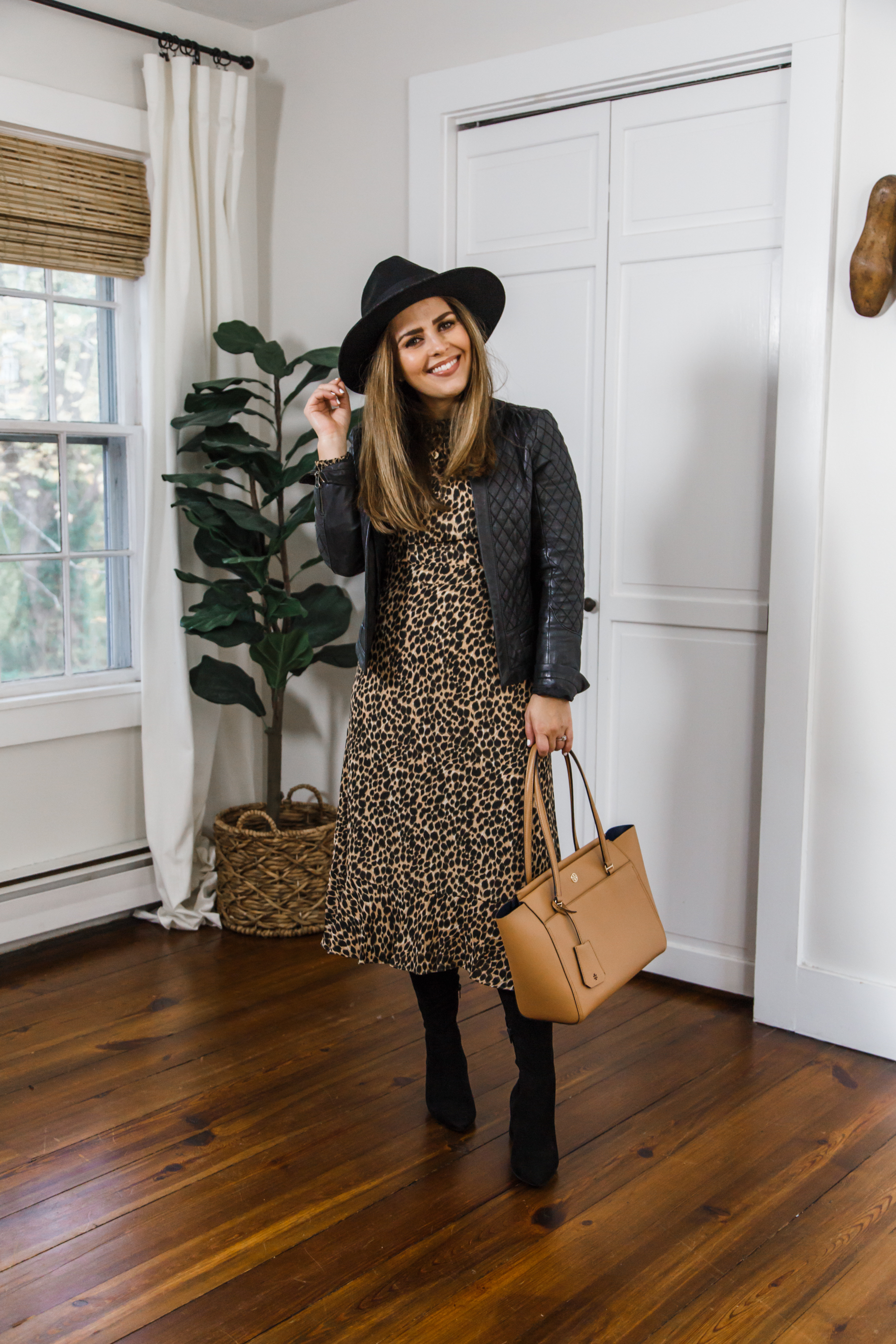 leopard print dress with boots